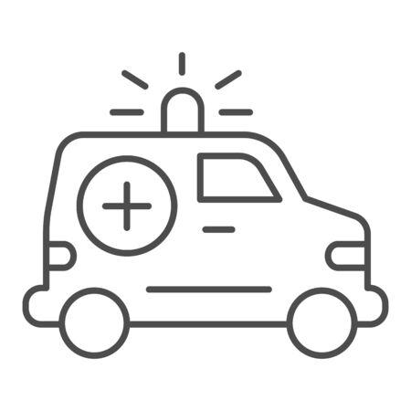 Ambulance car thin line icon. Emergency vehicle vector illustration isolated on white. Hospital transport outline style design, designed for web and app. Eps 10.