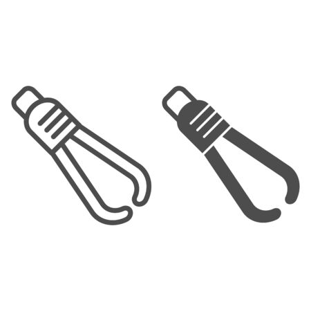 Medical tweezers line and glyph icon. Medical equipment vector illustration isolated on white. Pincers outline style design, designed for web and app. Eps 10.