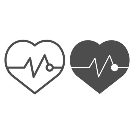 Heartbeat line and glyph icon. Pulse vector illustration isolated on white. Cardiogram outline style design, designed for web and app. Eps 10.