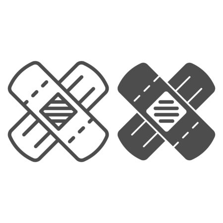 Adhesive plaster line and glyph icon. Medical tape vector illustration isolated on white. Bandage outline style design, designed for web and app. Eps 10. 向量圖像