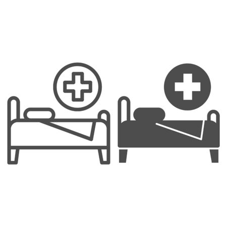 Hospital bed line and glyph icon. Hospital ward vector illustration isolated on white. Rehabilitation outline style design, designed for web and app. Eps 10. 向量圖像