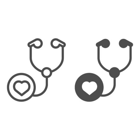 Stethoscope line and glyph icon. Doctor tool vector illustration isolated on white. Cardiology instrument outline style design, designed for web and app. Eps 10.