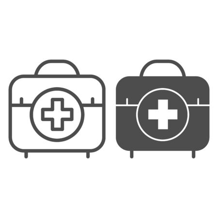First aid kit line and glyph icon. Medical bag vector illustration isolated on white. Doctor suitcase outline style design, designed for web and app. Eps 10.
