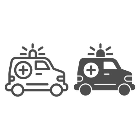 Ambulance car line and glyph icon. Emergency vehicle vector illustration isolated on white. Hospital transport outline style design, designed for web and app. Eps 10.