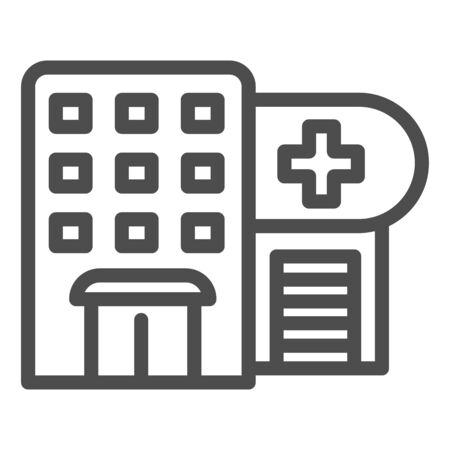 Hospital line icon. Polyclinic vector illustration isolated on white. Clinic outline style design, designed for web and app. Eps 10.
