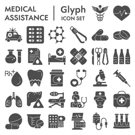 Medical assistance glyph icon set, healthcare symbols collection, vector sketches, illustrations, medicine equipment signs solid pictograms package isolated on white background, eps 10.