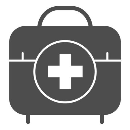 First aid kit solid icon. Medical bag vector illustration isolated on white. Doctor suitcase glyph style design, designed for web and app. Eps 10.