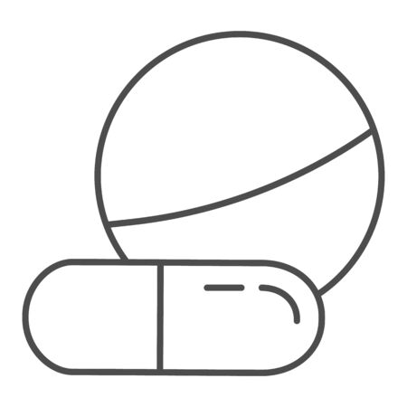 Tablet and capsule thin line icon. Drugs vector illustration isolated on white. Pills outline style design, designed for web and app. Eps 10.