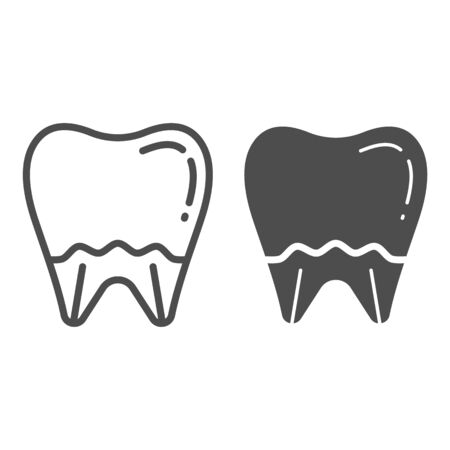 Tooth line and glyph icon. Mouth care vector illustration isolated on white. Dental health outline style design, designed for web and app. Eps 10.