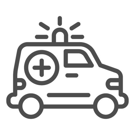 Ambulance car line icon. Emergency vehicle vector illustration isolated on white. Hospital transport outline style design, designed for web and app. Eps 10.
