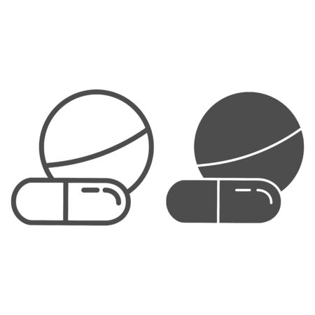 Tablet and capsule line and glyph icon. Drugs vector illustration isolated on white. Pills outline style design, designed for web and app. Eps 10.