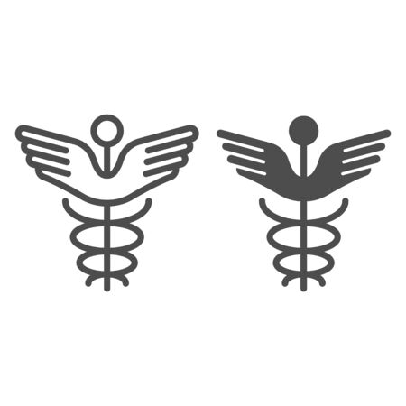 Caduceus line and glyph icon. Pharmacy symbol vector illustration isolated on white. Medical sign outline style design, designed for web and app. Eps 10.