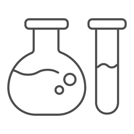 Test tube and beaker thin line icon. Medical flasks vector illustration isolated on white. Laboratory glassware outline style design, designed for web and app. Eps 10. 일러스트