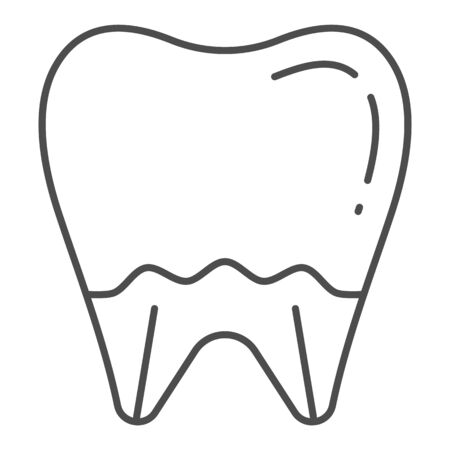 Tooth thin line icon. Mouth care vector illustration isolated on white. Dental health outline style design, designed for web and app. Eps 10. Иллюстрация