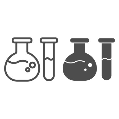 Test tube and beaker line and glyph icon. Medical flasks vector illustration isolated on white. Laboratory glassware outline style design, designed for web and app. Eps 10. 일러스트