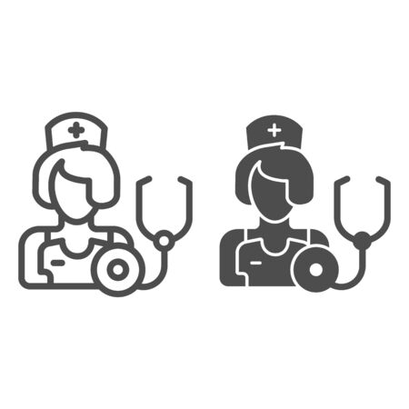 Therapist line and glyph icon. Medic vector illustration isolated on white. Physician outline style design, designed for web and app. Eps 10. Çizim