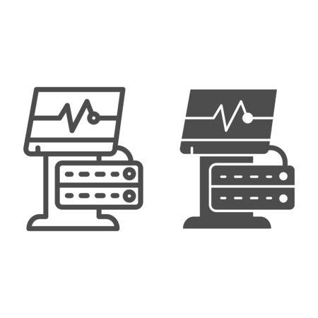 Ligne de périphérique ECG et icône de glyphe. Illustration de vecteur de moniteur médical isolé sur blanc. Conception de style de contour de machine d'électrocardiogramme, conçue pour le Web et l'application. Eps 10.