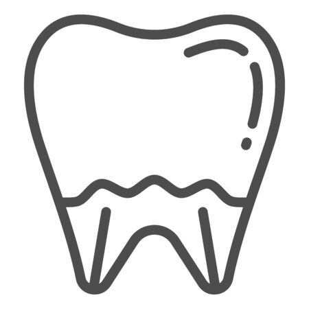 Tooth line icon. Mouth care vector illustration isolated on white. Dental health outline style design, designed for web and app. Eps 10.