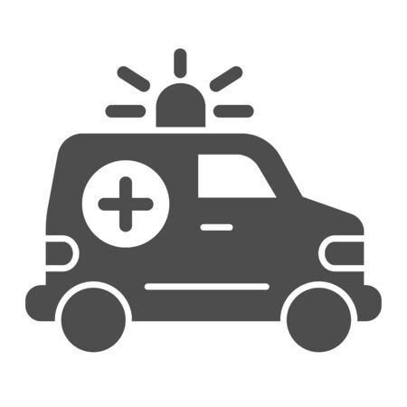 Ambulance car solid icon. Emergency vehicle vector illustration isolated on white. Hospital transport glyph style design, designed for web and app. Eps 10.