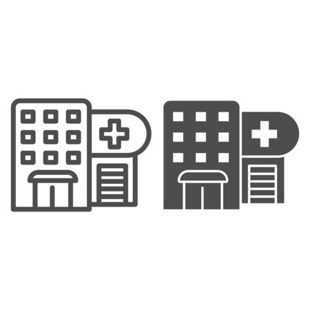 Hospital line and glyph icon. Polyclinic vector illustration isolated on white. Clinic outline style design, designed for web and app. Eps 10. Иллюстрация