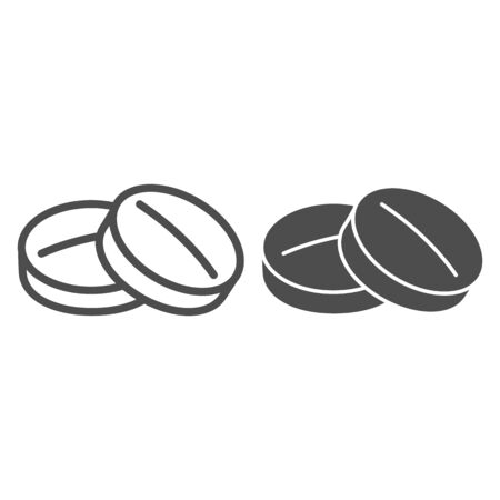Round tablet line and glyph icon. Medicine pills vector illustration isolated on white. Drugs outline style design, designed for web and app. Eps 10.