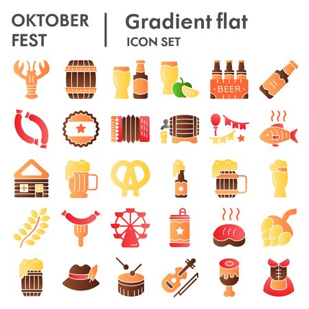 Octoberfest flat icon set, beer festival symbols collection, vector sketches, logo illustrations, german celebration signs color gradient pictograms package isolated on white background, eps 10.