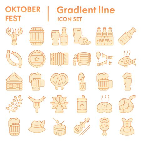 Octoberfest flat icon set, beer festival symbols collection, vector sketches, logo illustrations, german celebration signs orange gradient pictograms package isolated on white background, eps 10.