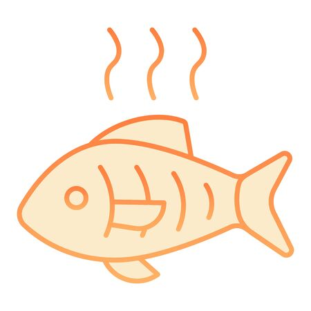 Hot fish flat icon. Grilled fish orange icons in trendy flat style. Fry seafood gradient style design, designed for web and app. Eps 10.