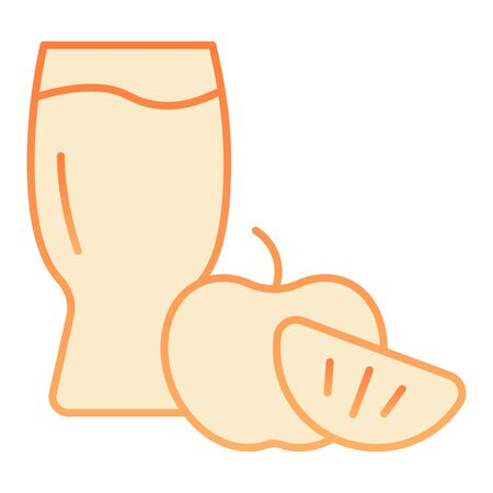 Apple cider glass flat icon. Apple with glass orange icons in trendy flat style. Apple cider vinegar gradient style design, designed for web and app. Eps 10.
