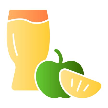 Apple cider glass flat icon. Apple with glass color icons in trendy flat style. Apple cider vinegar gradient style design, designed for web and app. Eps 10.