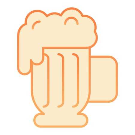 Beer mug with foam flat icon. Lager glass with froth orange icons in trendy flat style. Ale cup gradient style design, designed for web and app. Eps 10.