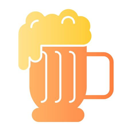 Beer mug with foam flat icon. Lager glass with froth color icons in trendy flat style. Ale cup gradient style design, designed for web and app. Eps 10.