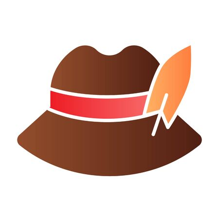 Traditional german cap flat icon. German feather hat color icons in trendy flat style. Oktoberfest hat gradient style design, designed for web and app. Eps 10.