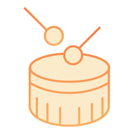 Snare drum flat icon. Drum with drumstick orange icons in trendy flat style. Percussion instrument gradient style design, designed for web and app. Eps 10.