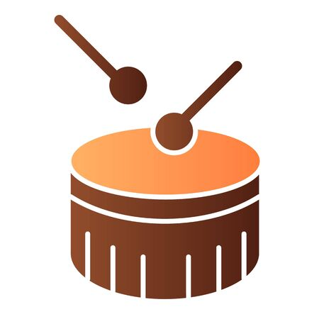 Snare drum flat icon. Drum with drumstick color icons in trendy flat style. Percussion instrument gradient style design, designed for web and app. Eps 10.