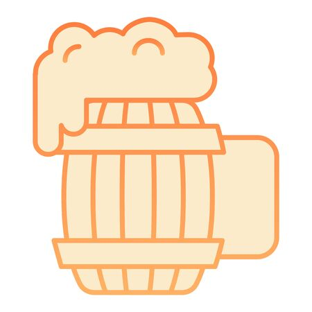 Wooden mug of beer flat icon. Craft beer orange icons in trendy flat style. Ale mug with froth gradient style design, designed for web and app. Eps 10.