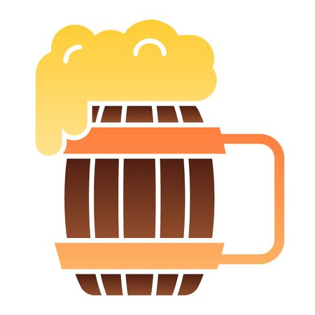 Wooden mug of beer flat icon. Craft beer color icons in trendy flat style. Ale mug with froth gradient style design, designed for web and app. Eps 10.