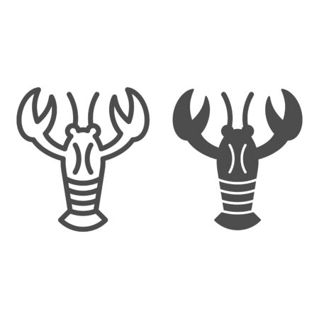 Crayfish line and glyph icon. Crustacean vector illustration isolated on white. Lobster outline style design, designed for web and app. Eps 10. Illustration