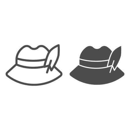 German feather hat line and glyph icon. Oktoberfest hat vector illustration isolated on white. Traditional german cap outline style design, designed for web and app. Eps 10. Çizim