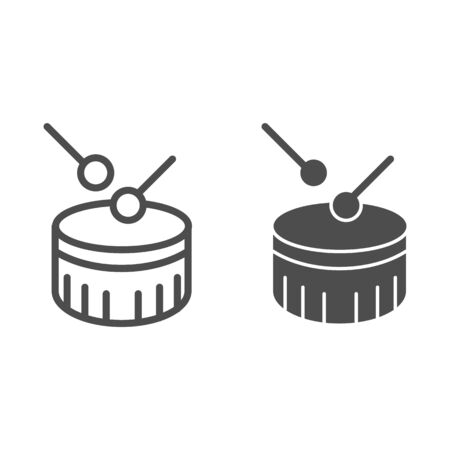 Snare drum line and glyph icon. Drum with drumstick vector illustration isolated on white. Percussion instrument outline style design, designed for web and app. Eps 10.
