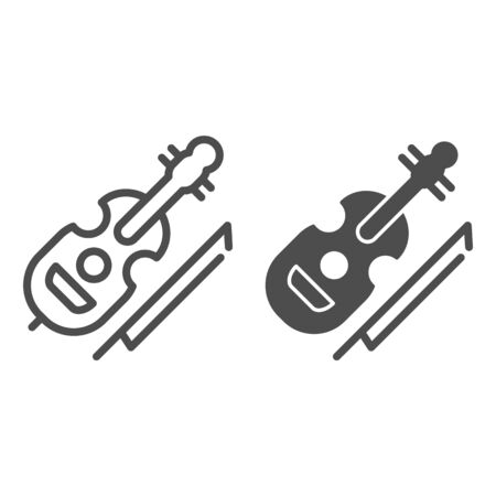 Violin line and glyph icon. String instrument vector illustration isolated on white. Musical instrument outline style design, designed for web and app. Eps 10.