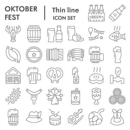 Octoberfest thin line icon set, beer festival symbols collection, vector sketches, illustrations, german celebration signs linear pictograms package isolated on white background, eps 10. Çizim