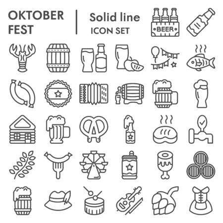 Octoberfest line icon set, beer festival symbols collection, vector sketches, illustrations, german celebration signs linear pictograms package isolated on white background, eps 10.