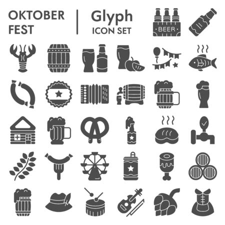 Octoberfest glyph icon set, beer festival symbols collection, vector sketches, illustrations, german celebration signs solid pictograms package isolated on white background, eps 10. Çizim