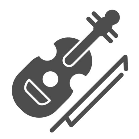 Violin solid icon. String instrument vector illustration isolated on white. Musical instrument glyph style design, designed for web and app. Eps 10.