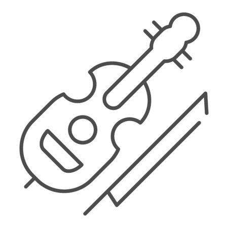 Violin thin line icon. String instrument vector illustration isolated on white. Musical instrument outline style design, designed for web and app. Eps 10.