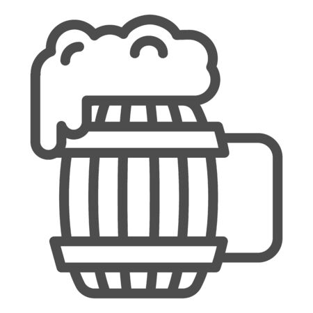Wooden mug of beer line icon. Craft beer vector illustration isolated on white. Ale mug with froth outline style design, designed for web and app. Eps 10.
