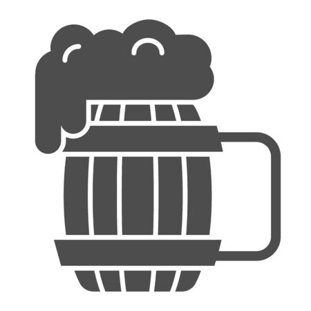 Wooden mug of beer solid icon. Craft beer vector illustration isolated on white. Ale mug with froth glyph style design, designed for web and app. Eps 10.
