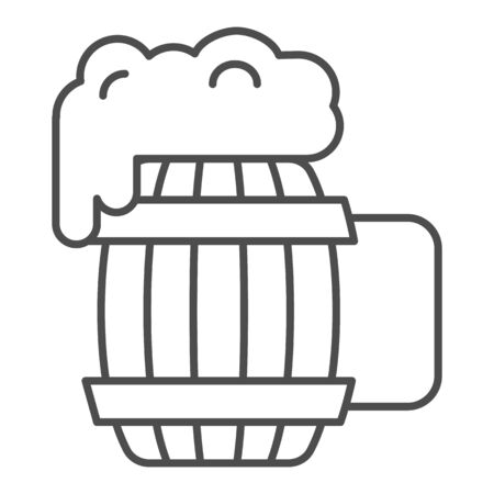 Wooden mug of beer thin line icon. Craft beer vector illustration isolated on white. Ale mug with froth outline style design, designed for web and app. Eps 10.