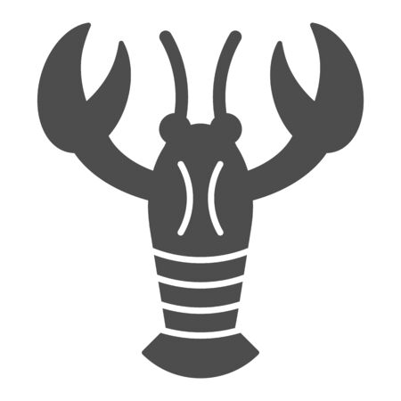 Crayfish solid icon. Crustacean vector illustration isolated on white. Lobster glyph style design, designed for web and app. Eps 10.